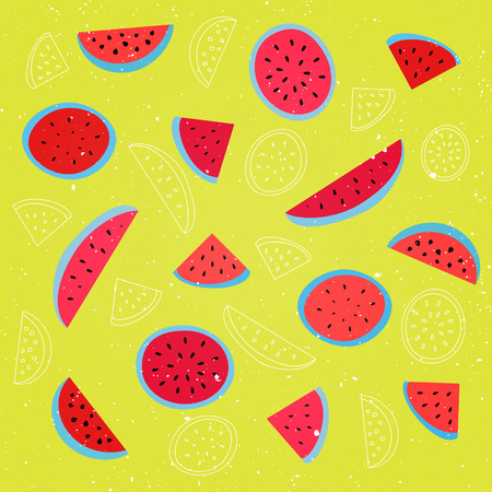 grunge wallpaper: seamless pattern with ripe watermelon symbol over yellow background. vector textile print ornament. fashion, grunge wallpaper cool design. abstract, melon fruits ornament patterns