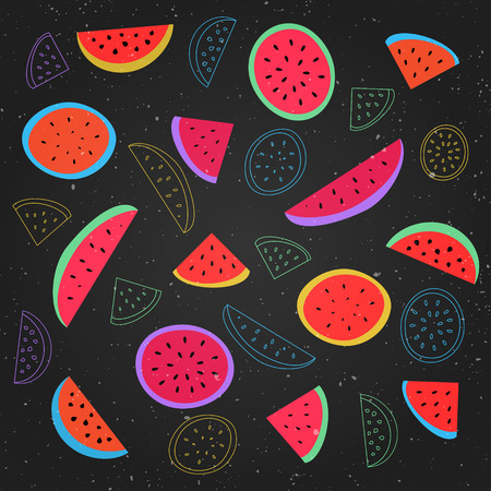 grunge wallpaper: seamless pattern with ripe watermelon symbol over black background. vector textile print ornament. fashion, grunge wallpaper cool design. abstract, melon fruits ornament patterns