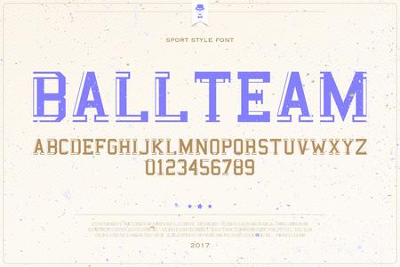 team sports: set de letras del alfabeto del estilo de los deportes universitarios y números sobre fondo de papel. vector, diseño tipo de fuente dinámica. equipo concepto de título de texto. campus de la competición deportiva tipo de letra