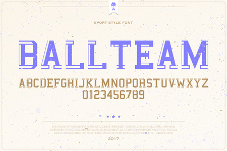 sports team: set of college sports style alphabet letters and numbers on paper background. vector, dynamic font type design. team title concept typesetting. campus sport competition typeface