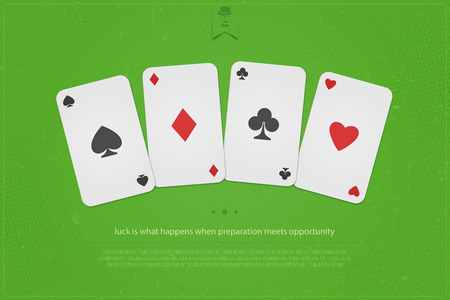 set of playing card suits on green table background. vector banner design. hearts, spades, diamonds and clubs symbol. casino and poker or blackjack rooms decoration. gambling addiction concept