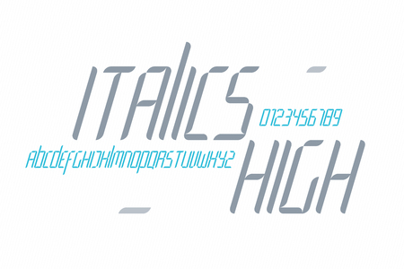 italic: set of italics style alphabet letters and numbers on white background. vector font type design. modern high lettering icons. stylized tilt typesetting. contemporary italic typeface template