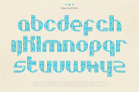 typesetting: set of blue imprint style alphabet letters on grunge paper texture. vector font type design. modern, bold lettering icons. vintage poster text typesetting. alphabetical track typeface template