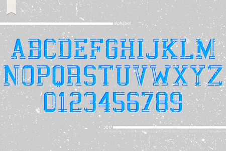 typesetting: set of university sports style alphabet letters and numbers on grunge paper background. vector, dynamic font type design. team title concept typesetting. campus sport competition typeface