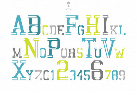 numerical code: set of colorful alphabet letters and numbers over white paper texture. vector font type design. retro, bold lettering icons. vintage, ornamental typography. decorative typeface template Illustration