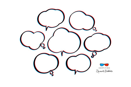 stereoscopic: 3d effect speech bubbles isolated on white background. vector cloud icons. new idea text box. stereoscopic chatting bubble. 3d illusion dialog frames