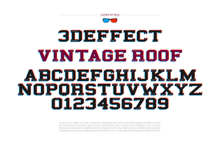 stereoscopic: 3d illusion alphabet letters and numbers. 3d effect vector font type design. glitch style lettering. modern stereoscopic typesetting. three-dimensional typeface