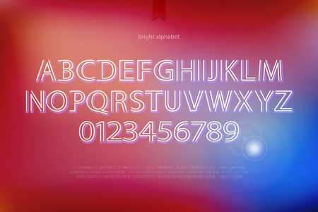 typesetting: modern alphabet letters and numbers. vector font type design. bright lettering icons. contemporary, shiny typesetting. luminous typeface template Illustration