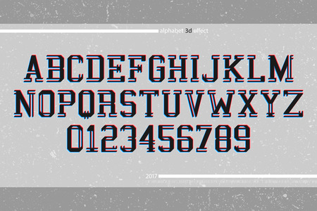 typesetting: 3d illusion alphabet letters and numbers. 3d effect vector font type design. glitch style lettering. contemporary stereoscopic typesetting. distorted typeface