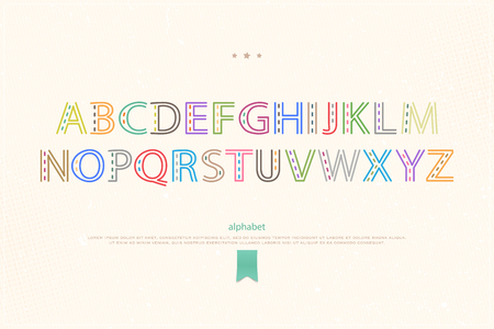 typesetting: cartoon style alphabet letters on paper texture. vector font type design. ornamental lettering symbol. colorful, decorative typesetting. ethnic typeface template