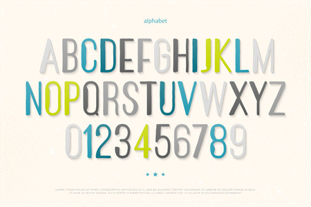 typesetting: modern alphabet letters and numbers. vector font type design. hand drawn lettering icons. contemporary, high typesetting. regular typeface template
