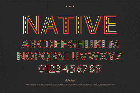 old style lettering: old style alphabet letters and numbers on paper texture. vector font type design. native ornament lettering. colorful, decorative typesetting. ethnic typeface template Illustration