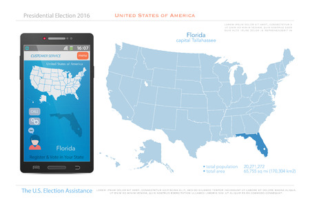 state election: United States of America maps and Florida state territory. vector USA political map. US election assistance app for smart phone. technology banner