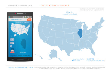 us territory: United States of America maps and Illinois state territory. vector USA political map. US election assistance app for smart phone. technology banner Illustration