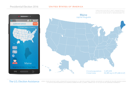 state election: United States of America maps and Maine state territory. vector USA political map. US election assistance app for smart phone. technology banner