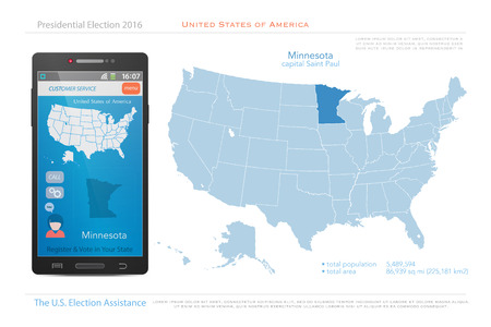 us territory: United States of America maps and Minnesota state territory. vector USA political map. US election assistance app for smart phone. technology banner Illustration