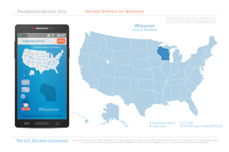 state election: United States of America maps and Wisconsin state territory. vector USA political map. US election assistance app for smart phone. technology banner Illustration