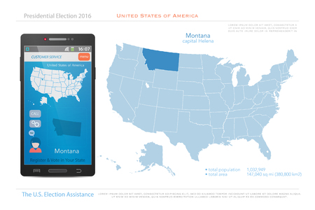 state election: United States of America maps and Montana state territory. vector USA political map. US election assistance app for smart phone. technology banner