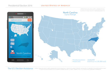 state election: United States of America maps and North Carolina state territory. vector USA political map. US election assistance app for smart phone. technology banner Illustration