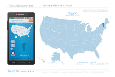us territory: United States of America maps and Vermont state territory. vector USA political map. US election assistance app for smart phone. technology banner Illustration