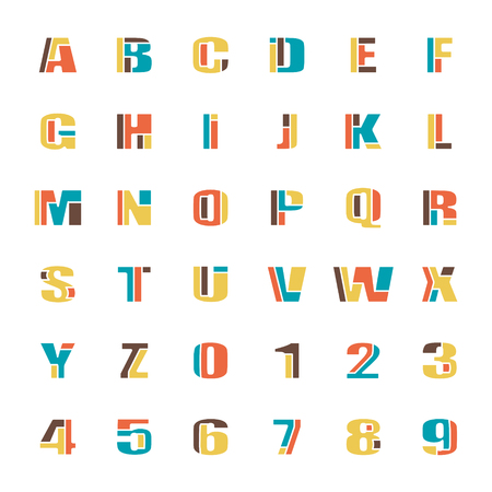 typesetting: mosaic style alphabet letters and numbers.  font type design. comic lettering puzzle elements. colorful, geometric typesetting. kids typeface template Illustration
