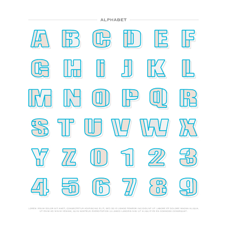 typesetting: mosaic style alphabet letters and numbers. font type design. lettering puzzle 3d elements. bold typesetting. regular typeface template