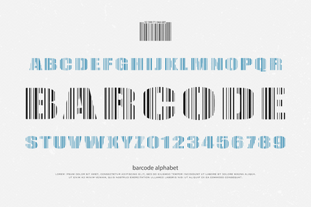 typesetting: barcode style alphabet letters and numbers. font type design. merchandise lettering icons. lines pattern typesetting. technology typeface template