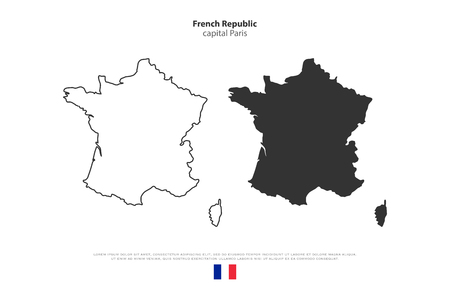 corsica: French Republic map outline and official flag icon isolated on white background. vector France political map illustration. European State geographic banner template. Corsica island vector Illustration