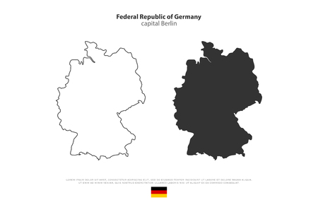 deutschland: Federal Republic of Germany map outline and official flag icon isolated on white background. vector German political maps illustration. European State geographic banner template. Deutschland