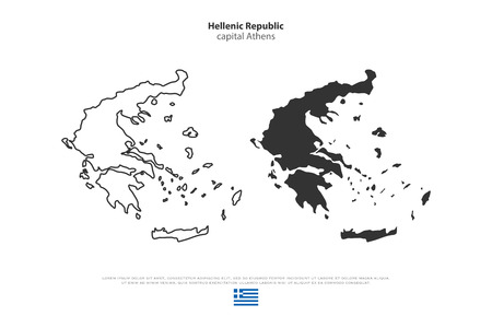 hellenic: Hellenic Republic isolated maps and official flag icons. vector Greece political map thin line icons. European country geographic banner template