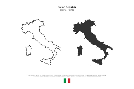Italian Republic isolated map and official flag icons. set of vector Italy political maps icons. Mediterranean, European country geographic banner template