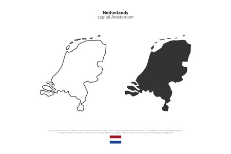 geographic: Kingdom of the Netherlands isolated map and official flag icons. vector Dutch political maps icons. EU geographic banner template. travel and business concept maps Illustration