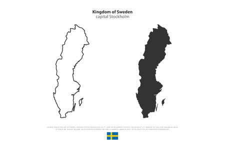 Kingdom of Sweden isolated map and official flag icon. vector Swedish political maps illustration. Swede geographic banner template. Scandinavian travel and business concept map