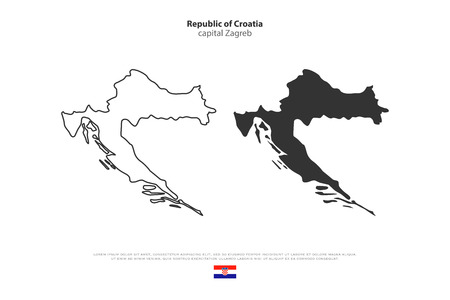 Republic of Croatia isolated map and official flag icons. vector Croatian political maps illustration. Balkans country geographic banner template Illustration