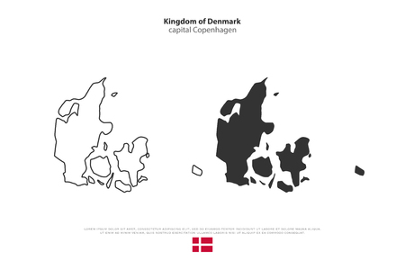 danish flag: Kingdom of Denmark isolated map and official flag icons. vector Danish political maps symbol. Nordic Country geographic banner template. travel and business concept map