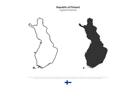 finnish: Republic of Finland isolated map and official flag icons. vector Finnish political map illustration. Suomi geographic banner template. travel and business concept map