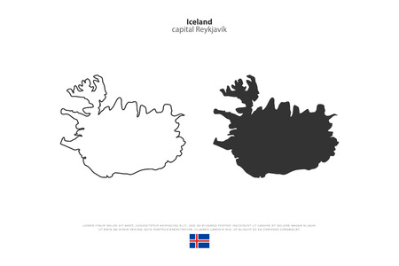 tundra: Republic of Iceland isolated map and official flag icons. vector Iceland political maps icon. Nordic Island Country geographic banner template. travel concept map over white background