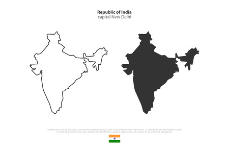 Republic of India isolated map and official flag icons. vector Indian political maps illustration. South Asia country geographic banner template. travel and business concept map
