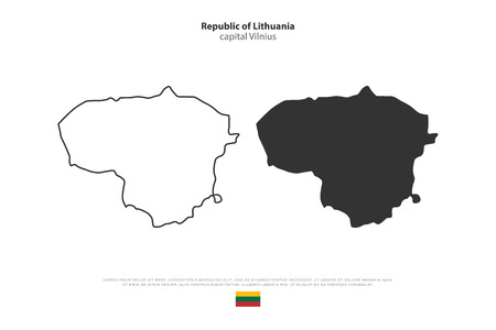 geographic: Republic of Lithuania isolated map and official flag icons. vector Lithuanian political maps icon over white background. Northern Europe State geographic banner template