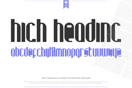 headings: set of stylish alphabet letters isolated on white background. vector contemporary, tall font type. modern headings character design. high, decorative title typesetting Illustration