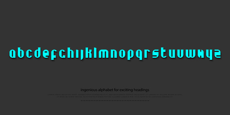typesetting: set of stylish alphabet letters isolated on dark background. vector contemporary, bold font type. modern heading character design. decorative typesetting