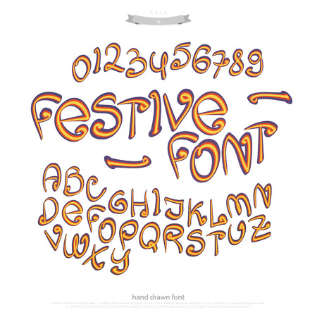 typesetting: cartoon style alphabet letters and numbers isolated on white background. vector colorful, comic font type. festive calligraphy character design. handwritten, decorative typesetting