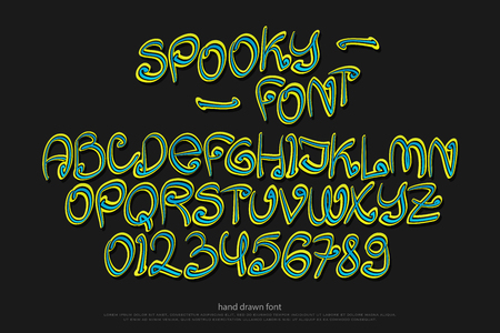 typesetting: cartoon style alphabet letters and numbers isolated on black background. vector spooky, comic font type. scary Halloween character design. handwritten, decorative typesetting