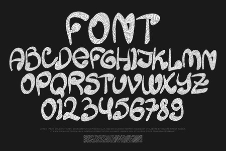 typesetting: tribal style alphabet letters and numbers isolated on black background. vector African tribe font type. ethnic ornament character design. indigenous handwritten, decorative typesetting Illustration