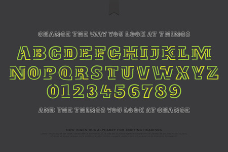 emphasized: old style alphabet letters and numbers isolated on gray background. vector font type design. ornamental lettering symbols. hand drawn contour typesetting. decorative typeface template Illustration