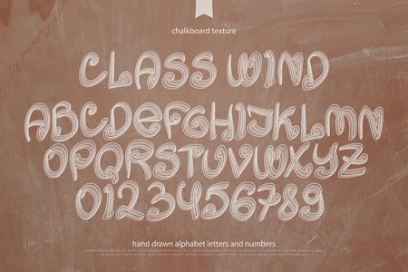 typesetting: school, retro style alphabet letters and numbers over chalkboard texture. vector font type design. classroom blackboard lettering symbols. hand drawn typesetting. schooling typeface template