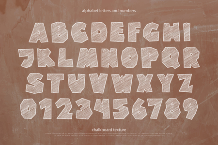 schooling: school, cartoon style alphabet letters and numbers over chalkboard texture. font type design. classroom blackboard lettering symbols. drawn typesetting. schooling typeface template