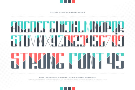typesetting: uppercase alphabet letters and numbers. font type design. cut lettering symbols. stylish, keen typesetting. headings typeface template