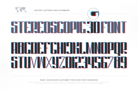 typesetting: 3d illusion alphabet letters and numbers. 3d effect font type design. glitch style lettering. contemporary stereoscopic typesetting. futuristic typeface