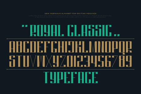 uppercase alphabet letters and numbers. font type design. decorative lettering symbols. stylish, regular typesetting. headings classic typeface template